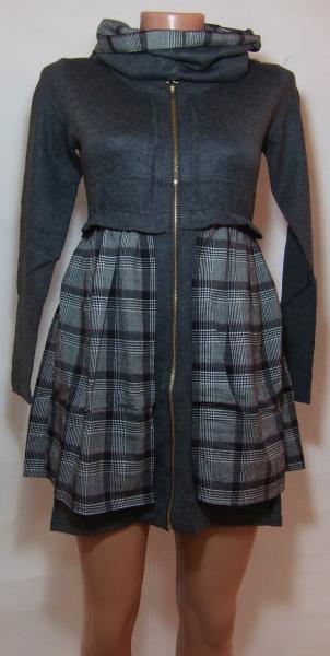 Женское трикотажное платье 23037 (двусторонний ,съемный воротник-хомут)