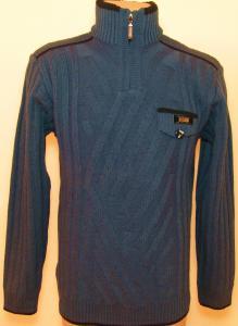 Фото Мужской трикотаж Мужской зимний свитер 12012 (тёмно-синий)