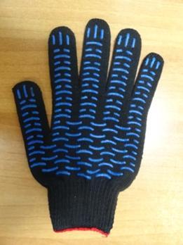 Перчатки Черные/белые 5-нитка с ПВХ