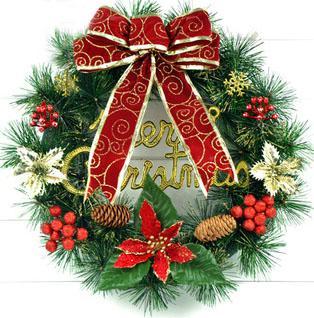 Рождественский венок 40 см с украшениями