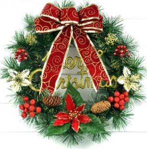 Фото Новогодний венок Рождественский венок 40 см с украшениями