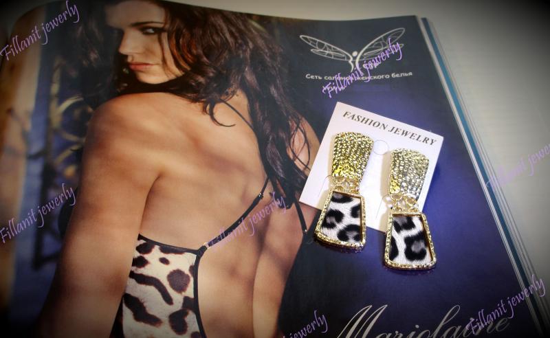 Серьги Square Leopard