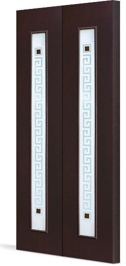Межкомнатная складная дверь Тип С-17 (Ф) с фъюзингом Квадрат