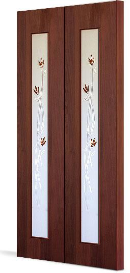 Межкомнатная складная дверь Тип С-17 (Ф) с фъюзингом Тюльпан