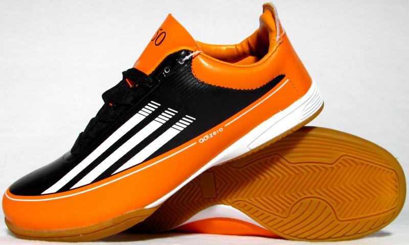 Бампы Adidas Adizero F50 (кожа) черно-оранжевые