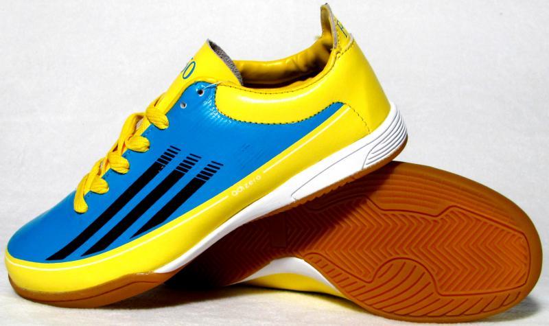 Бампы Adidas Adizero F50 (кожа) голубо-желтые