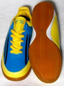 Фото БАМПЫ Бампы Adidas Adizero F50 (кожа) голубо-желтые