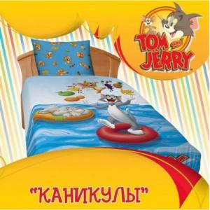 Фото Постельное белье детское, 1,5 спальное бязь Том и Джерри Каникулы