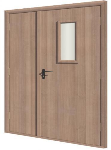 Дверь противопожарная в комплекте ДДП комбинированная ламинатин