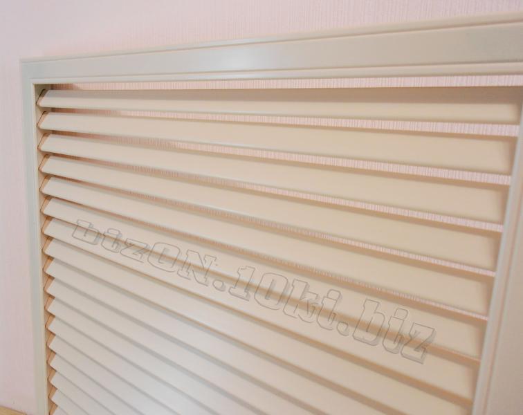 Решетка пластиковая   600 х 600 мм;   цвет - Слоновая Кость;   для радиаторов отопления и декора
