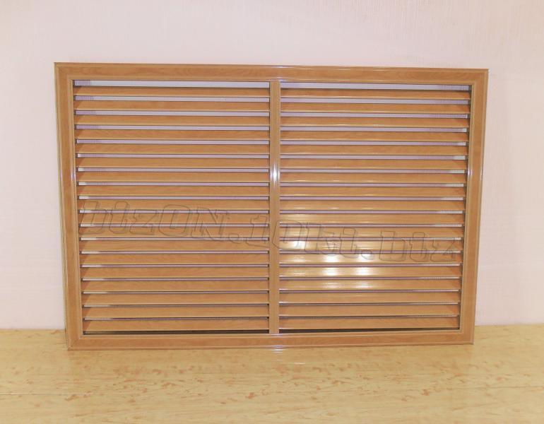 Решетка пластиковая  (Арт. Т28)    900 х 600 мм;    цвет  Дуб Старый;     для радиаторов отопления и декора