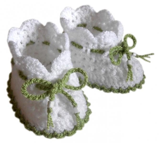 Детские пинетки белые с зеленым