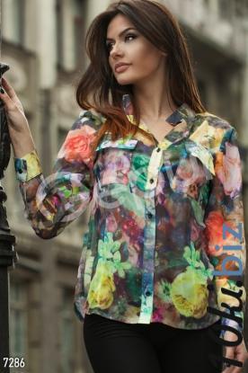 Блузка с цветочным принтом и карманами  купить в Белой Церкви - Рубашки женские