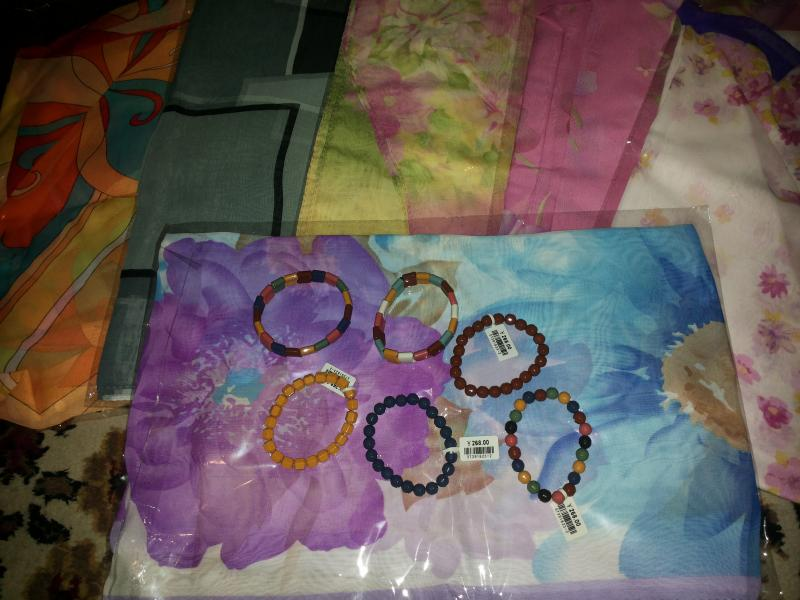 Набор:турмалиновый шарф и турмалиновый браслет (можно выбрать цвет)