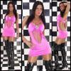 розовое клубное платье