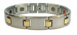 Фото Магнитные браслеты, Стальные, С биокерамическими вставками Магнитный стальной браслет Цезарь с биокерамическими вставками