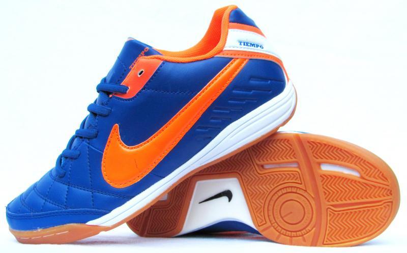 Бампы Nike Tiempo  сине-оранжевые