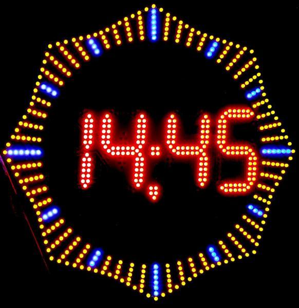 Часы электронные светодиодные сложной формы