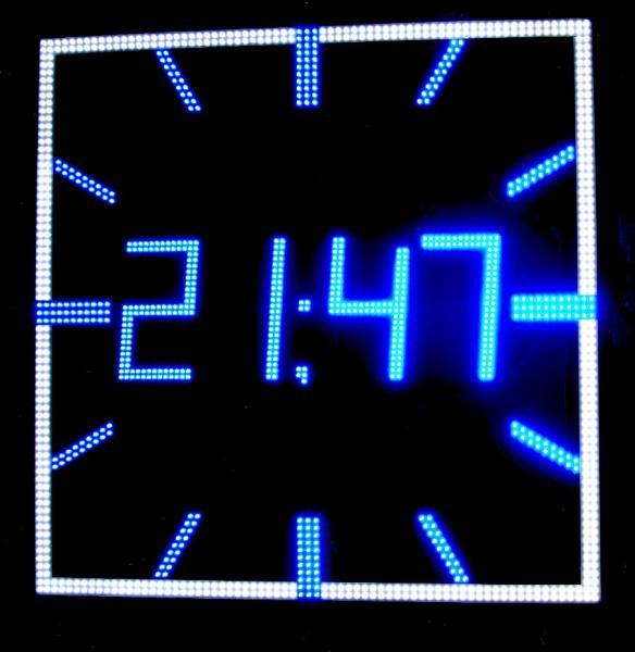 Часы электронные светодиодные для улицы квадрат
