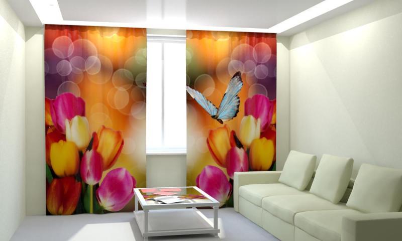 Тюльпаны с бабочкой
