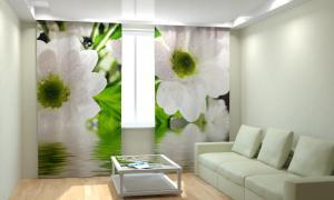 Фото 3D фотошторы, Для комнаты, Цветы Белые цветы