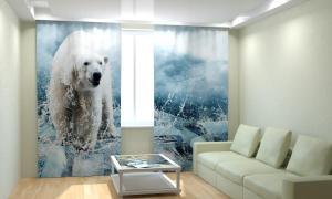 Фото 3D фотошторы, Для комнаты, Животные Белый медведь