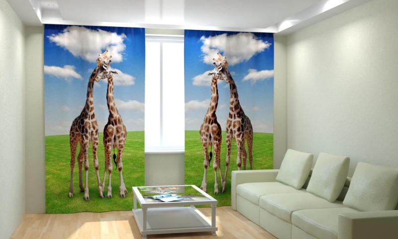 Жирафы на лугу