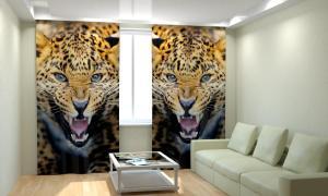 Фото 3D фотошторы, Для комнаты, Животные Леопард