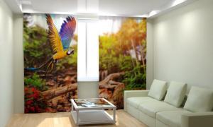 Фото 3D фотошторы, Для комнаты, Животные Летящий попугай