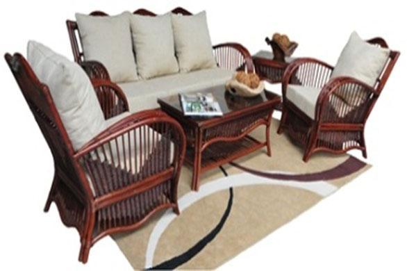 Комплект мебели PACIFIC из натурального ротанга: 2 кресла+софа+столик