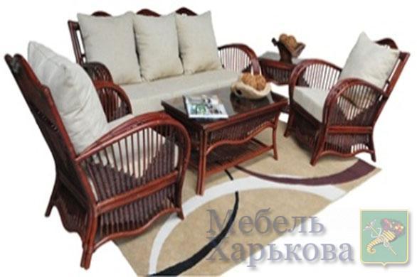 Комплект мебели PACIFIC из натурального ротанга: 2 кресла+софа+столик - Мебель для гостиной в Харькове