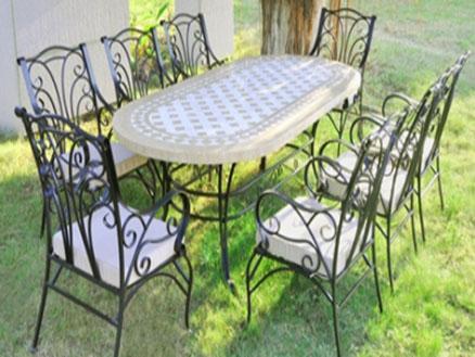 Комплект мебели (овальный стол с мрамор. столешницей + 8 кресел) YT081105