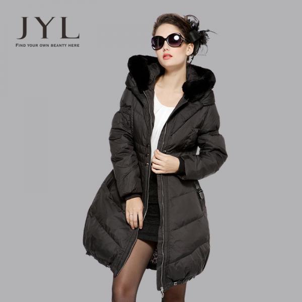 Пальто с мехом Енота-пуховик jyl  бренд