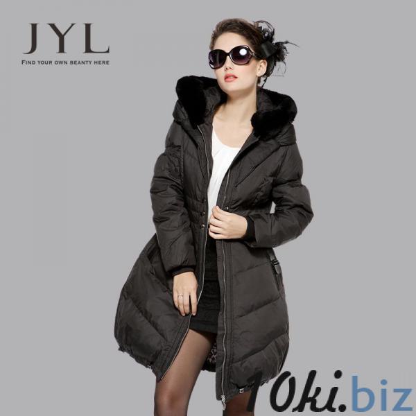 Пальто с мехом Енота-пуховик jyl  бренд Пуховики женские на Онлайн рынке России