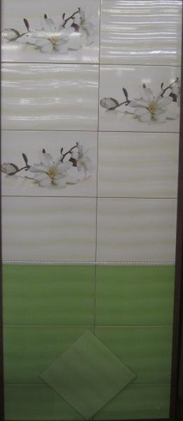 Плитка для ванной 30*45 Флора зеленая – крем