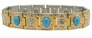 Фото Магнитные браслеты, Стальные, С полудрагоценными камнями Магнитный стальной браслет Бухара с бирюзой