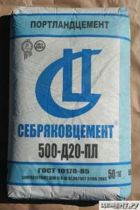 Фото Цемент,сухие строительные смеси, Цемент, Кладочные смеси Цемент М-500 Д 20 (Себряков цемент) 50 кг
