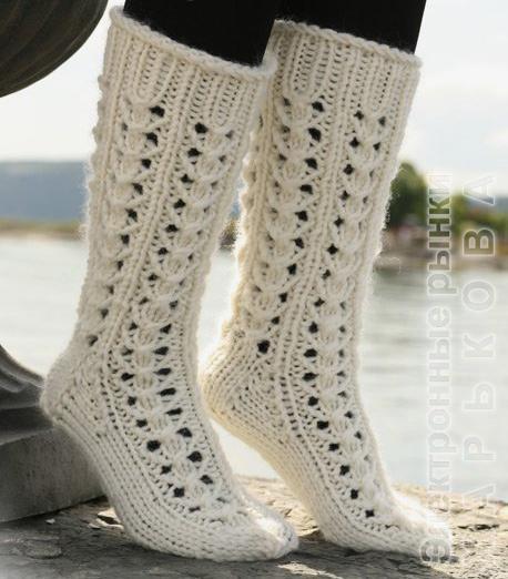 Высокие ажурные носки