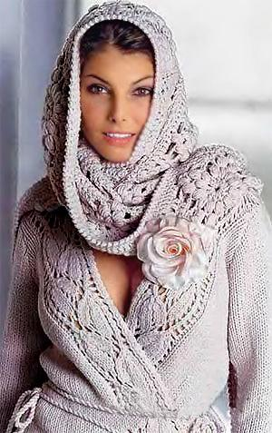 Жакет с ажурной шалью