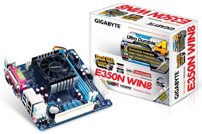 Материнская плата + процессор GA-E350N WIN8 (Dual-Core 1.6 ГГц, A45, PCI, 2*DDR3, 4*SATA2, VGA+HDMI, Glan, COM, LPT), mITX