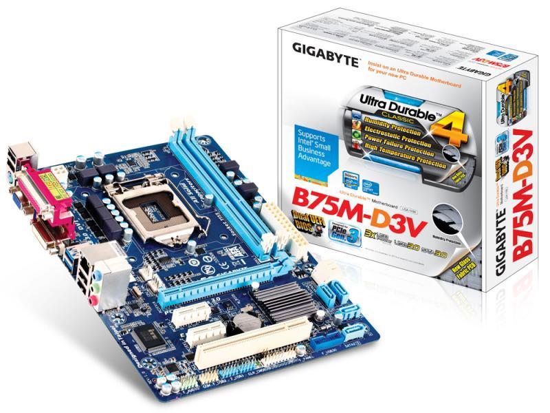 Материнская плата S-1155 Gigabyte GA-B75-D3V (B75, 4*DDR3, PCIx16, 2*PCI,1*SATA3+4*SATA2, mSATA, Dsub+DVI, USB3.0, ATX), Retail