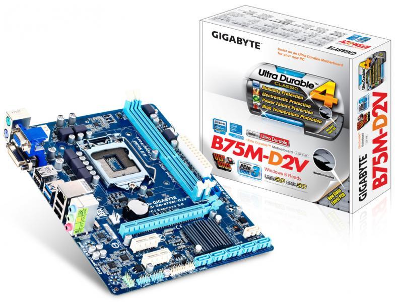 Материнская плата S-1155 Gigabyte GA-B75M-D2V (B75, 2*DDR3, PCIx16, 2*PCIх1, 1*SATA3+5*SATA2, Dsub+DVI, USB3.0, mATX), Retail