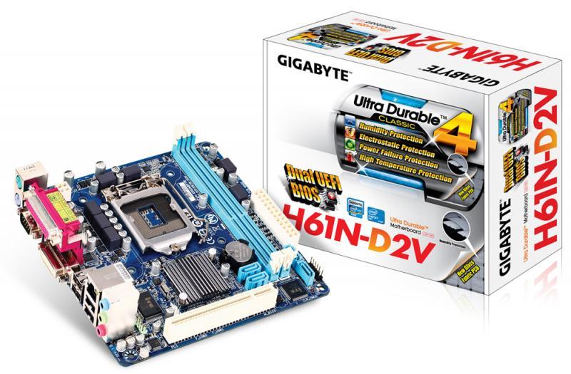 Материнская плата S-1155 Gigabyte GA-H61N-D2V (H61, PCI-Ex16, 2*DDR3 1333, 5.1chS, 4*SATA2, GbE LAN, DVI+COM+LPT, mITX), Retail