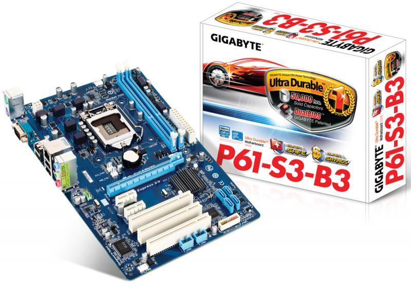 Материнская плата S-1155 Gigabyte GA-P61-S3 (H61, PCI-Ex16, NO VGA, 2*DDR3, 4*SATA2, GLAN, COM, 3*PCI, ATX)
