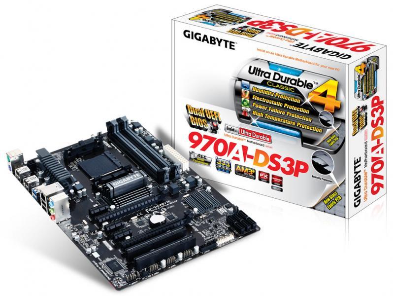 Материнская плата S-AM3+ Gigabyte GA-970A-DS3P (AMD970, 2*PCI-Ex16, 4*DDR3, 6*SATA3.0, 2*USB3.0, GbE LAN, RAID, ATX)
