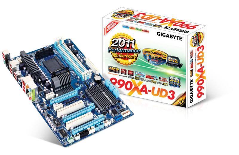 Материнская плата S-AM3+ Gigabyte GA-990XA-UD3 (AMD 990FX, 4*DDR3, 6*SATA3, 3*PCIx16, 2*PCI*1, 2*PCI, GbE LAN, RAID, 2*USB3.0, 1394, ATX