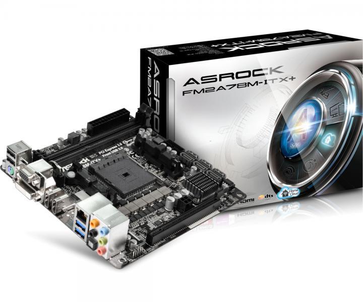 Материнская плата S-FM2+ ASRock FM2A78M-ITX+ (A78 FCH, 2*DDR3 2400, 1*PCI-E, D-Sub+DVI+HDMI-in+HDMI-Out, 6*SATA3, 2*USB3.0, GbE LAN, RAID) Mini-ITX