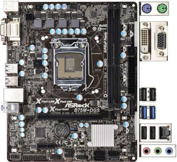 Материнская плата S1155 ASRock B75M-DGS 2.0 (B75, 2*DDR3, PCIx16,1*SATA3+5*SATA2, Dsub+DVI, USB3.0, mATX), oem