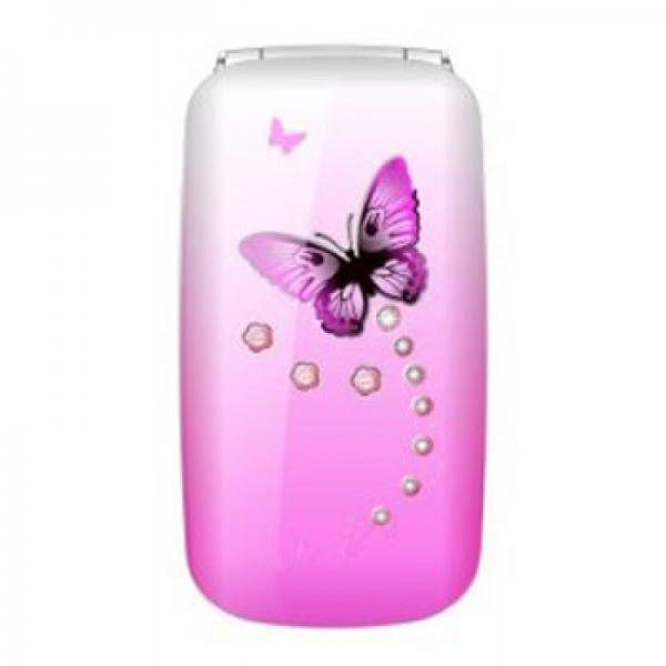 Мобильный телефон Samsung w888 раскладушка бабочка розовый (Bfour)