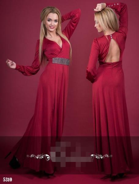Платье в пол с открытой спиной. Цвет - бордовый.5310